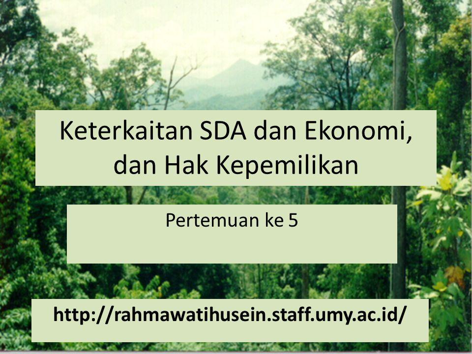 Keterkaitan SDA dan Ekonomi, dan Hak Kepemilikan Pertemuan ke 5 http://rahmawatihusein.staff.umy.ac.id/