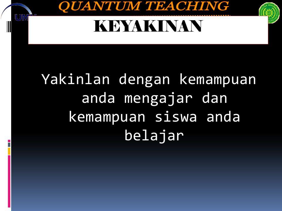 KEYAKINAN Yakinlan dengan kemampuan anda mengajar dan kemampuan siswa anda belajar