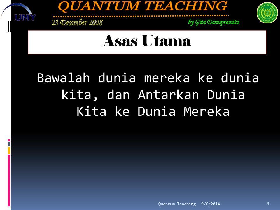 Asas Utama Bawalah dunia mereka ke dunia kita, dan Antarkan Dunia Kita ke Dunia Mereka 9/6/2014Quantum Teaching 4