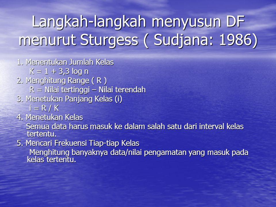 Langkah-langkah menyusun DF menurut Sturgess ( Sudjana: 1986) 1. Menentukan Jumlah Kelas K = 1 + 3,3 log n K = 1 + 3,3 log n 2. Menghitung Range ( R )