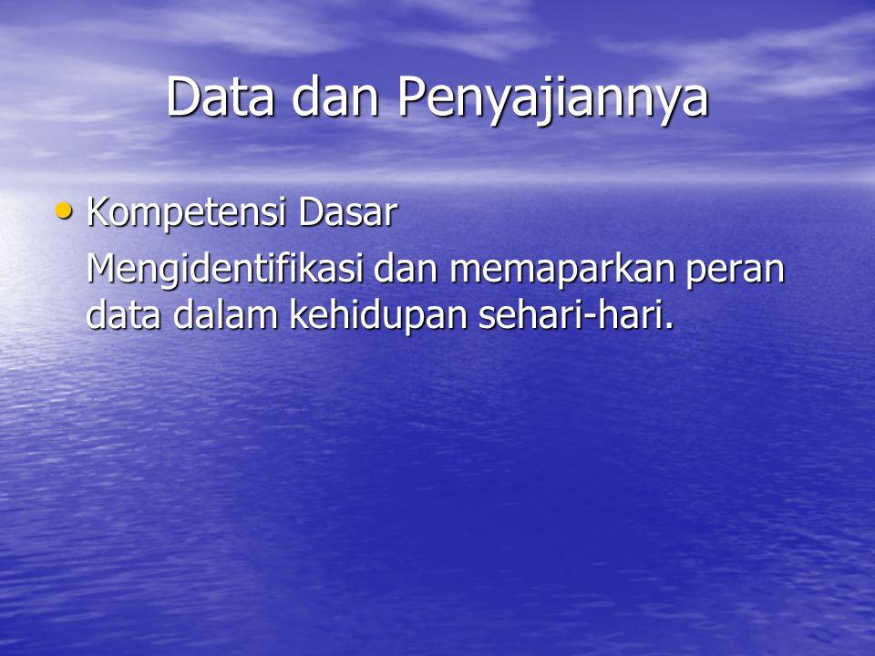 Data dan Penyajiannya Kompetensi Dasar Kompetensi Dasar Mengidentifikasi dan memaparkan peran data dalam kehidupan sehari-hari.