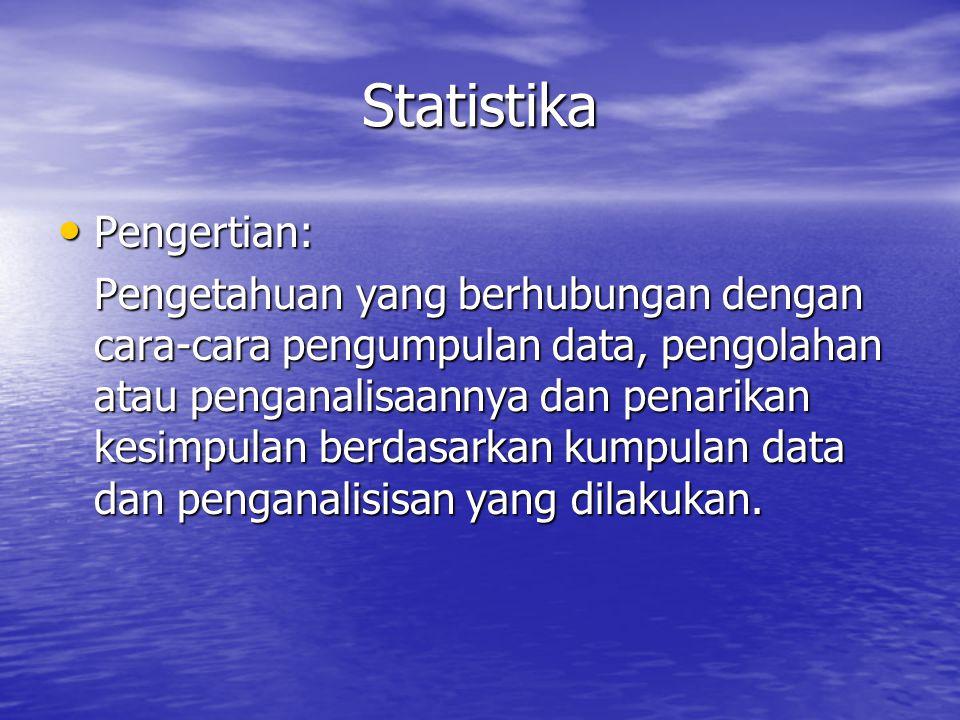 Statistika Pengertian: Pengertian: Pengetahuan yang berhubungan dengan cara-cara pengumpulan data, pengolahan atau penganalisaannya dan penarikan kesi