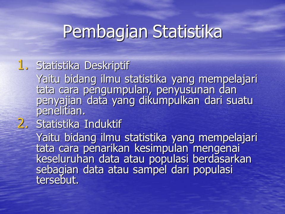Pembagian Statistika 1. Statistika Deskriptif Yaitu bidang ilmu statistika yang mempelajari tata cara pengumpulan, penyusunan dan penyajian data yang