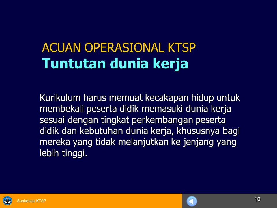 Sosialisasi KTSP 10 Kurikulum harus memuat kecakapan hidup untuk membekali peserta didik memasuki dunia kerja sesuai dengan tingkat perkembangan peser