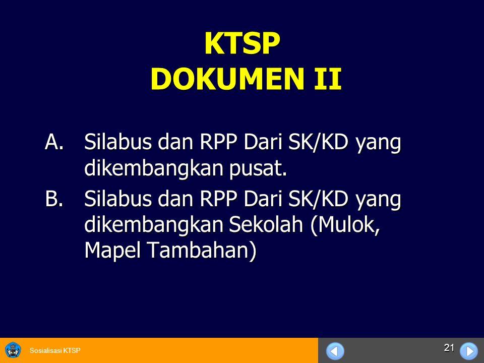 Sosialisasi KTSP 21 KTSP DOKUMEN II A.Silabus dan RPP Dari SK/KD yang dikembangkan pusat. B.Silabus dan RPP Dari SK/KD yang dikembangkan Sekolah (Mulo