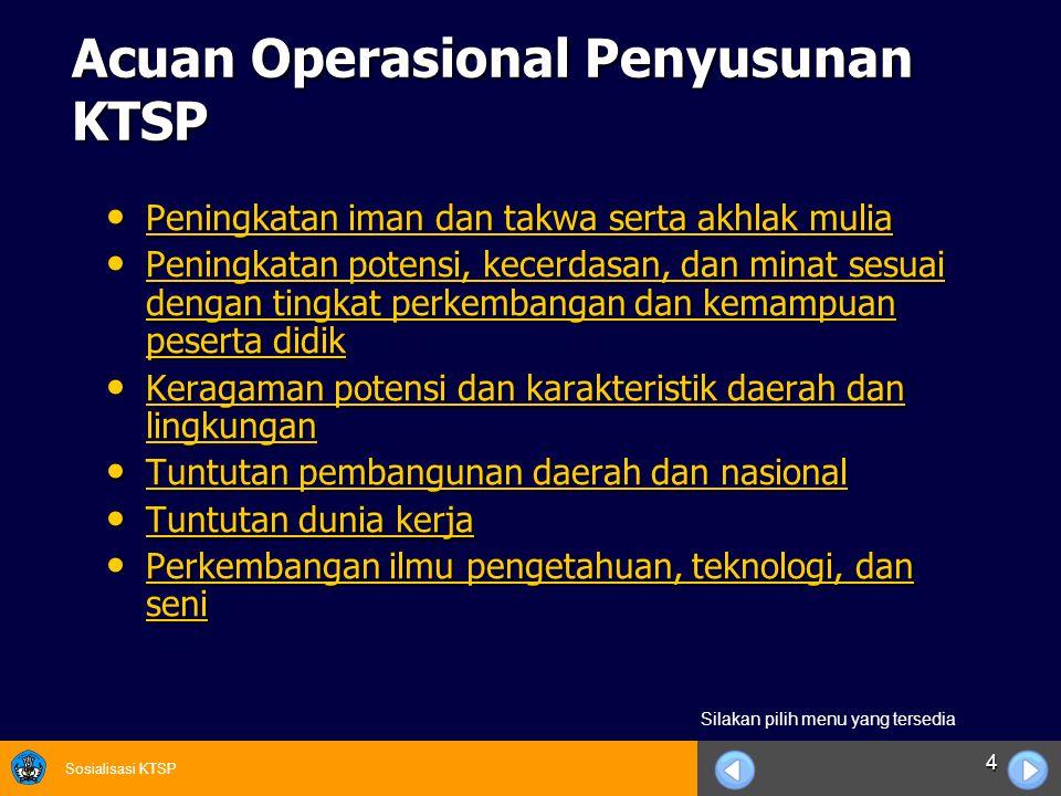 Sosialisasi KTSP 4 Acuan Operasional Penyusunan KTSP Peningkatan iman dan takwa serta akhlak mulia Peningkatan iman dan takwa serta akhlak mulia Penin