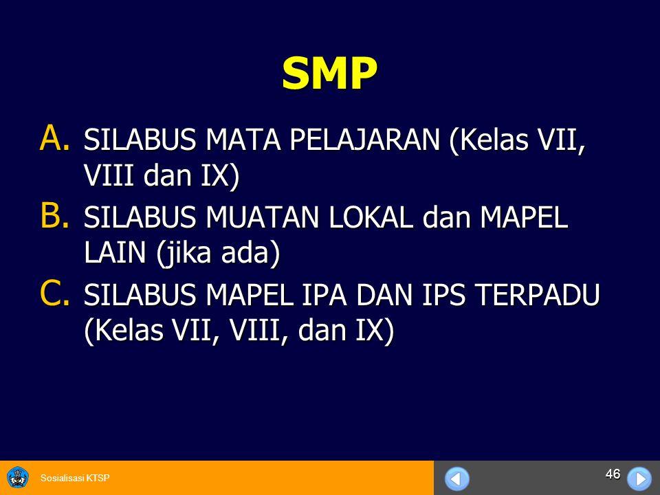 Sosialisasi KTSP 46 SMP A. SILABUS MATA PELAJARAN (Kelas VII, VIII dan IX) B. SILABUS MUATAN LOKAL dan MAPEL LAIN (jika ada) C. SILABUS MAPEL IPA DAN