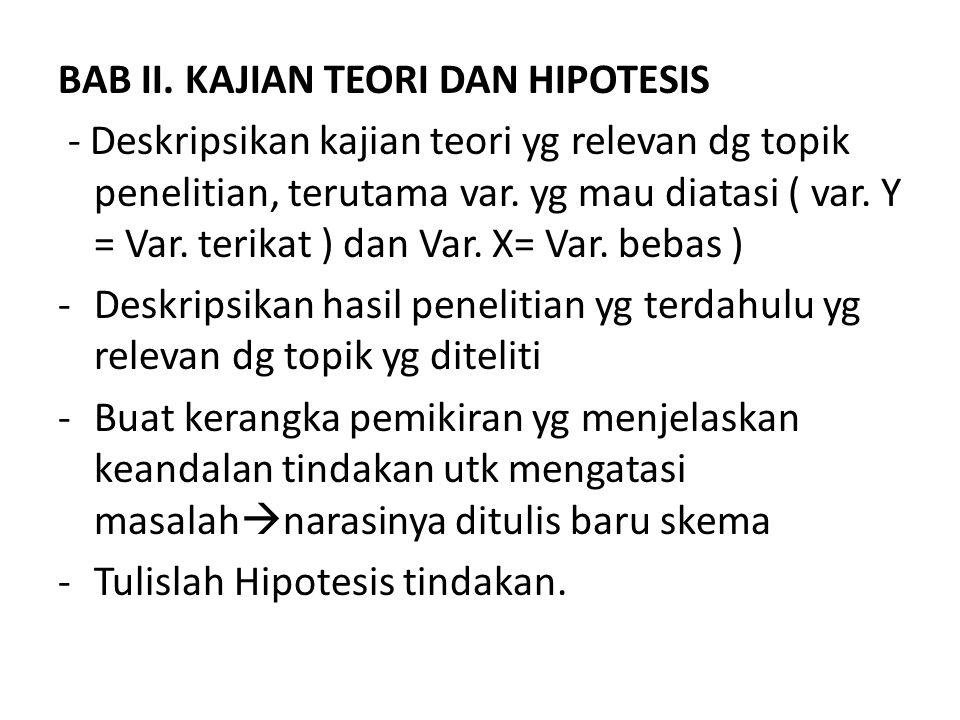 BAB II. KAJIAN TEORI DAN HIPOTESIS - Deskripsikan kajian teori yg relevan dg topik penelitian, terutama var. yg mau diatasi ( var. Y = Var. terikat )