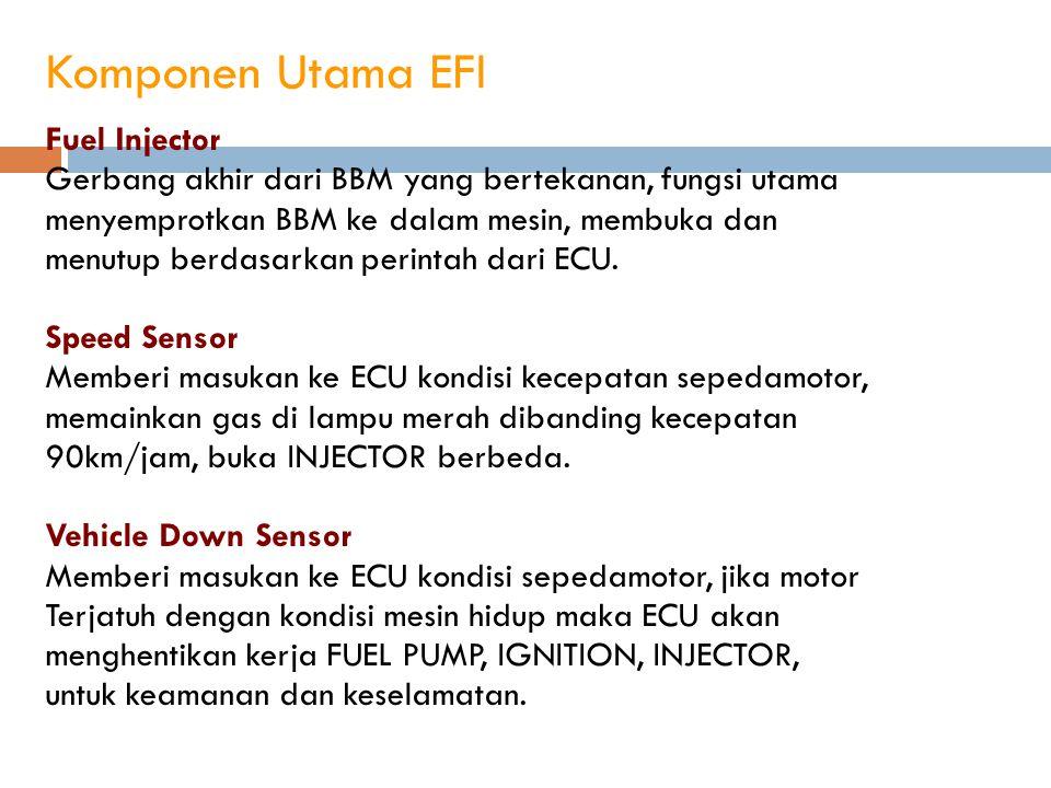 Komponen Utama EFI Fuel Injector Gerbang akhir dari BBM yang bertekanan, fungsi utama menyemprotkan BBM ke dalam mesin, membuka dan menutup berdasarka