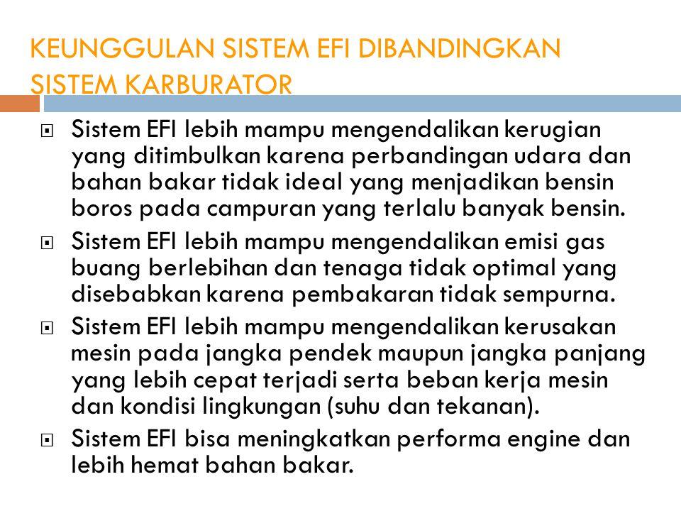 KEUNGGULAN SISTEM EFI DIBANDINGKAN SISTEM KARBURATOR  Sistem EFI lebih mampu mengendalikan kerugian yang ditimbulkan karena perbandingan udara dan ba