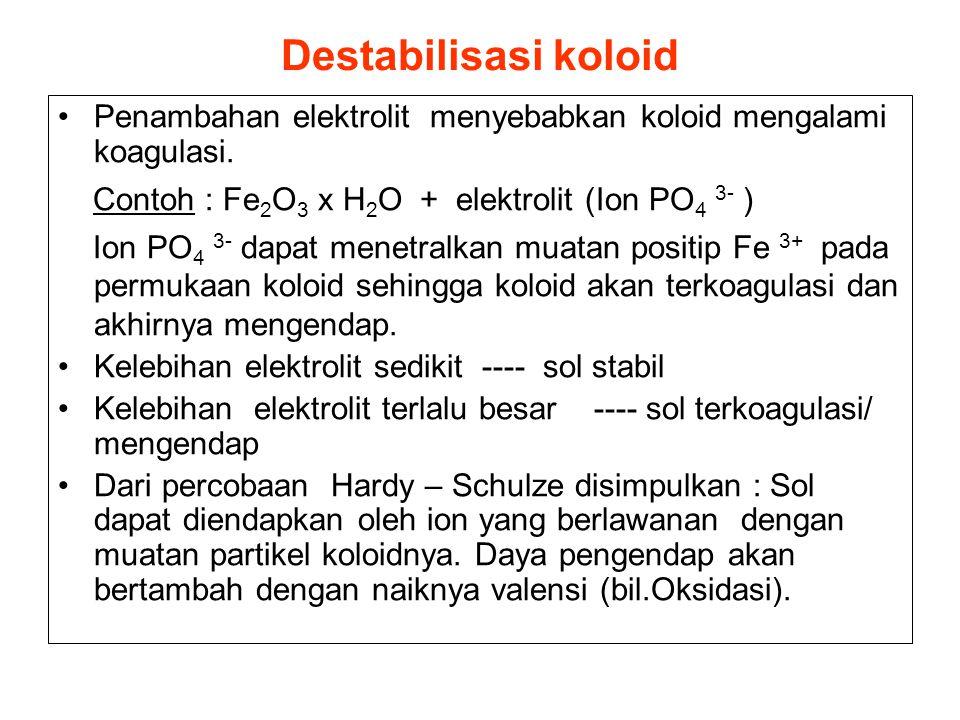 Destabilisasi koloid Penambahan elektrolit menyebabkan koloid mengalami koagulasi. Contoh : Fe 2 O 3 x H 2 O + elektrolit (Ion PO 4 3- ) Ion PO 4 3- d