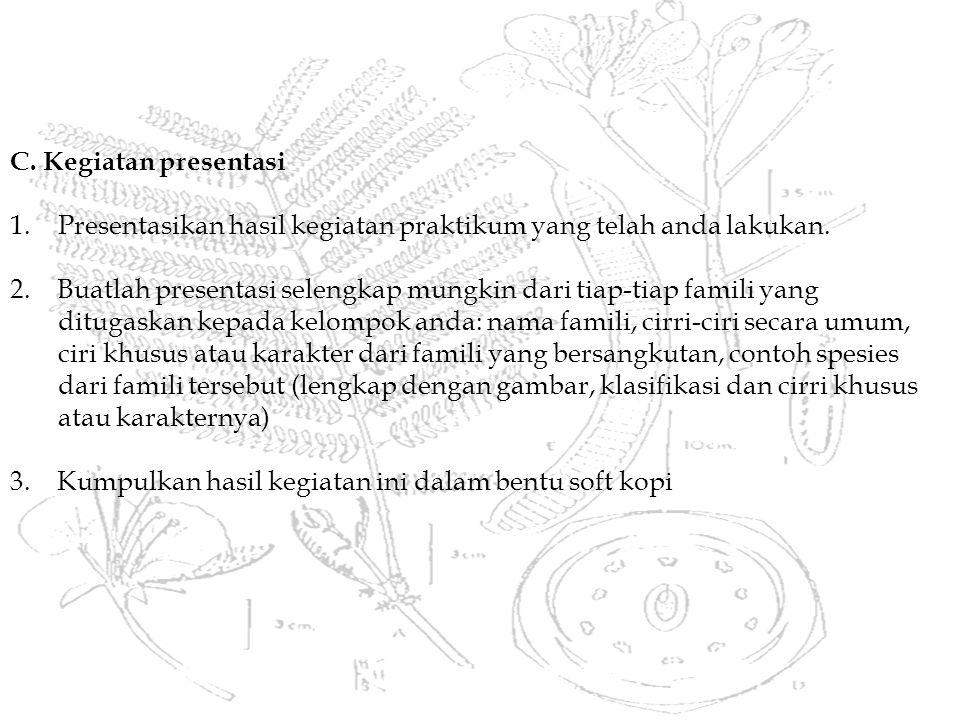C.Kegiatan presentasi 1.Presentasikan hasil kegiatan praktikum yang telah anda lakukan.