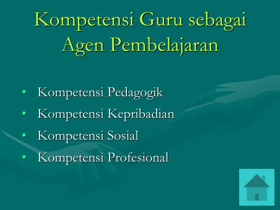 Kompetensi Guru sebagai Agen Pembelajaran Kompetensi PedagogikKompetensi Pedagogik Kompetensi KepribadianKompetensi Kepribadian Kompetensi SosialKompetensi Sosial Kompetensi ProfesionalKompetensi Profesional