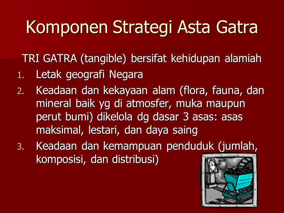 Komponen Strategi Asta Gatra TRI GATRA (tangible) bersifat kehidupan alamiah 1. Letak geografi Negara 2. Keadaan dan kekayaan alam (flora, fauna, dan