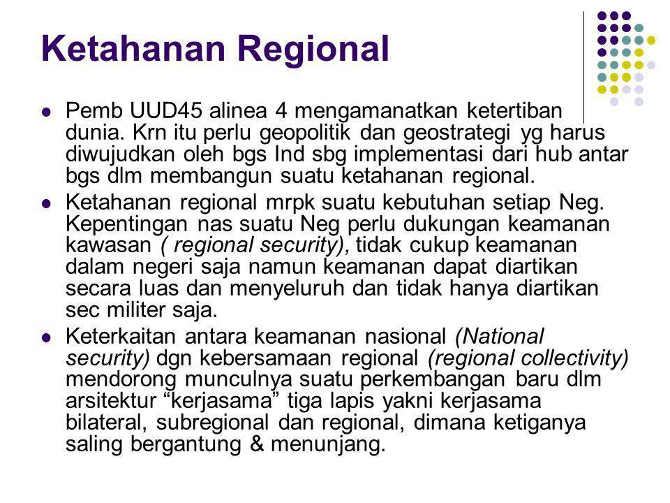 Ketahanan Regional Pemb UUD45 alinea 4 mengamanatkan ketertiban dunia. Krn itu perlu geopolitik dan geostrategi yg harus diwujudkan oleh bgs Ind sbg i