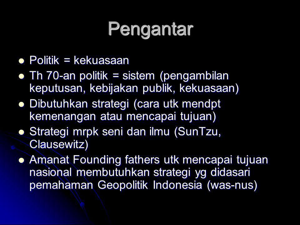 Pengantar Politik = kekuasaan Politik = kekuasaan Th 70-an politik = sistem (pengambilan keputusan, kebijakan publik, kekuasaan) Th 70-an politik = si