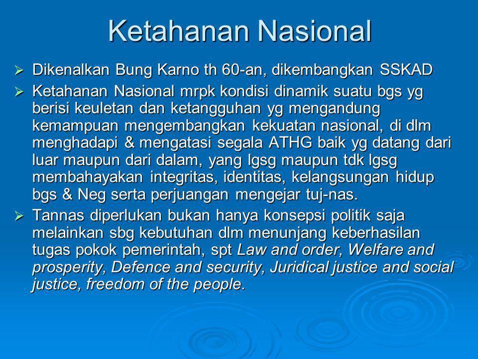 Ketahanan Nasional  Dikenalkan Bung Karno th 60-an, dikembangkan SSKAD  Ketahanan Nasional mrpk kondisi dinamik suatu bgs yg berisi keuletan dan ket