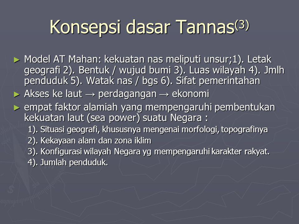 Konsepsi dasar Tannas (3) ► Model AT Mahan: kekuatan nas meliputi unsur;1). Letak geografi 2). Bentuk / wujud bumi 3). Luas wilayah 4). Jmlh penduduk