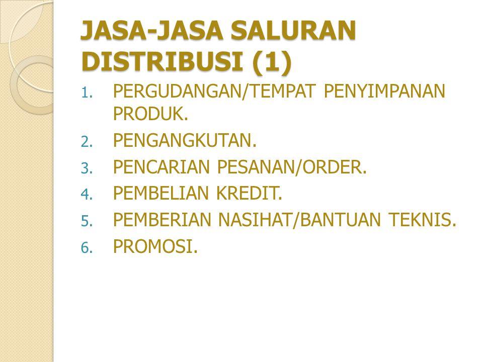 JASA-JASA SALURAN DISTRIBUSI (1) 1.PERGUDANGAN/TEMPAT PENYIMPANAN PRODUK.