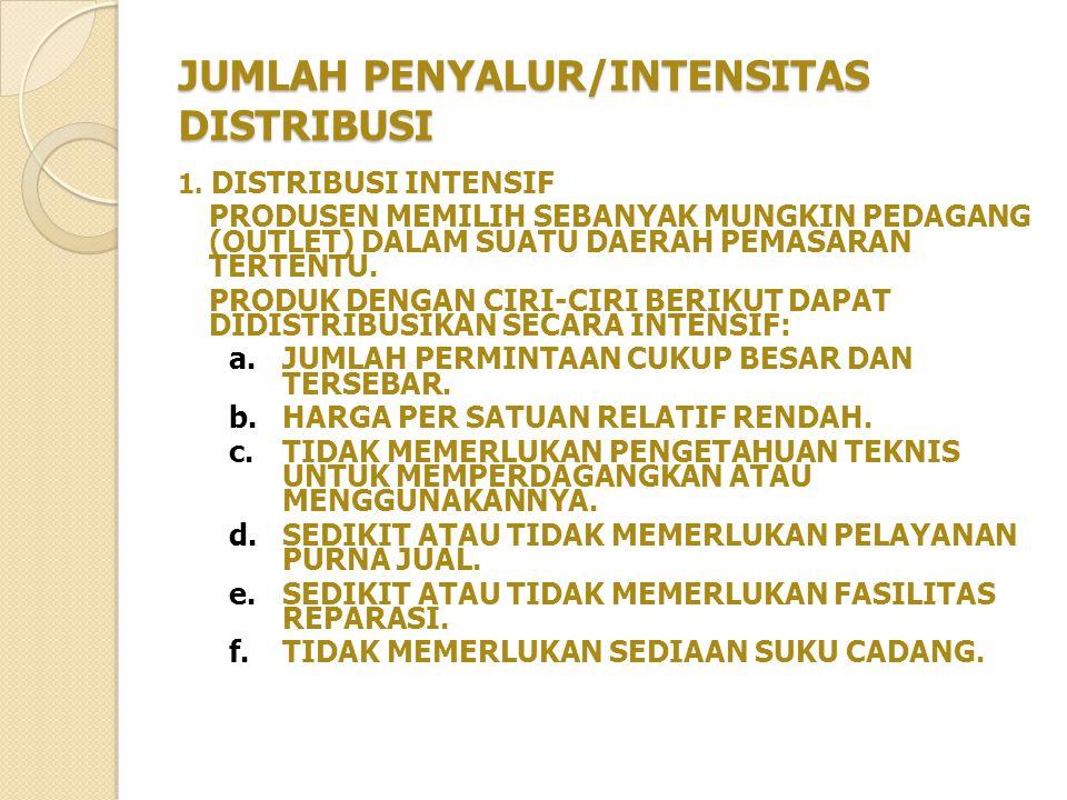JUMLAH PENYALUR/INTENSITAS DISTRIBUSI 1.