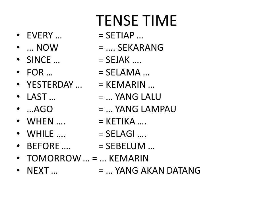 TENSE TIME EVERY …= SETIAP … … NOW= …. SEKARANG SINCE …= SEJAK …. FOR …= SELAMA … YESTERDAY …= KEMARIN … LAST …= … YANG LALU …AGO= … YANG LAMPAU WHEN