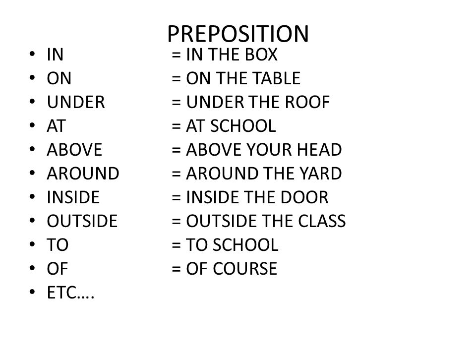PREPOSITION IN= IN THE BOX ON= ON THE TABLE UNDER= UNDER THE ROOF AT= AT SCHOOL ABOVE= ABOVE YOUR HEAD AROUND= AROUND THE YARD INSIDE= INSIDE THE DOOR