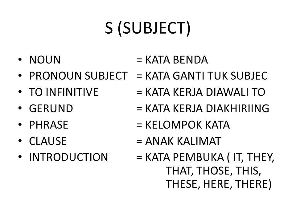 S (SUBJECT) NOUN= KATA BENDA PRONOUN SUBJECT= KATA GANTI TUK SUBJEC TO INFINITIVE= KATA KERJA DIAWALI TO GERUND= KATA KERJA DIAKHIRIING PHRASE= KELOMPOK KATA CLAUSE= ANAK KALIMAT INTRODUCTION= KATA PEMBUKA ( IT, THEY, THAT, THOSE, THIS, THESE, HERE, THERE)
