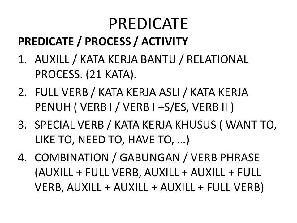 PREDICATE PREDICATE / PROCESS / ACTIVITY 1.AUXILL / KATA KERJA BANTU / RELATIONAL PROCESS. (21 KATA). 2.FULL VERB / KATA KERJA ASLI / KATA KERJA PENUH