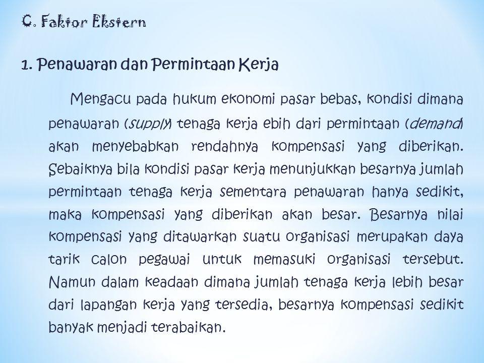 C. Faktor Ekstern 1. Penawaran dan Permintaan Kerja Mengacu pada hukum ekonomi pasar bebas, kondisi dimana penawaran (supply) tenaga kerja ebih dari p