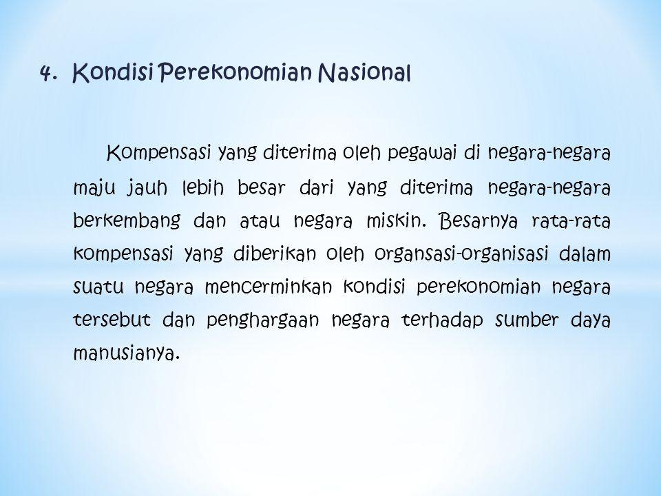 4. Kondisi Perekonomian Nasional Kompensasi yang diterima oleh pegawai di negara-negara maju jauh lebih besar dari yang diterima negara-negara berkemb