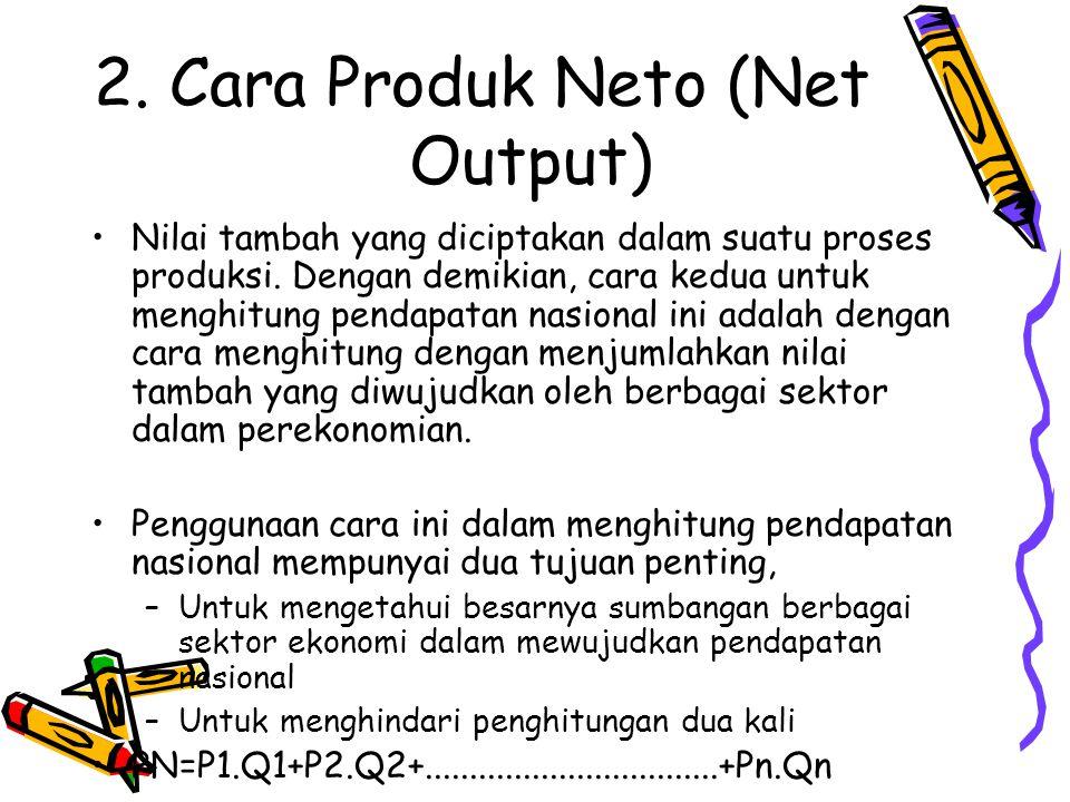 2. Cara Produk Neto (Net Output) Nilai tambah yang diciptakan dalam suatu proses produksi. Dengan demikian, cara kedua untuk menghitung pendapatan nas