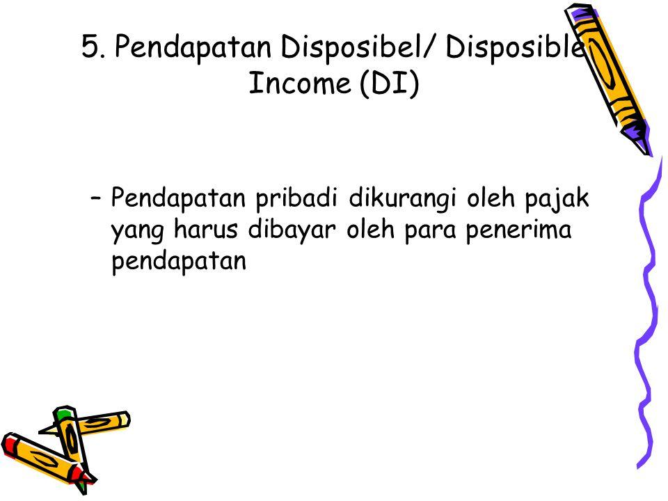 5. Pendapatan Disposibel/ Disposible Income (DI) –Pendapatan pribadi dikurangi oleh pajak yang harus dibayar oleh para penerima pendapatan