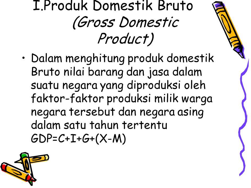 I.Produk Domestik Bruto (Gross Domestic Product) Dalam menghitung produk domestik Bruto nilai barang dan jasa dalam suatu negara yang diproduksi oleh