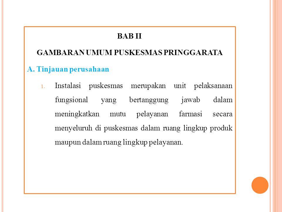 BAB II GAMBARAN UMUM PUSKESMAS PRINGGARATA A.Tinjauan perusahaan 1.
