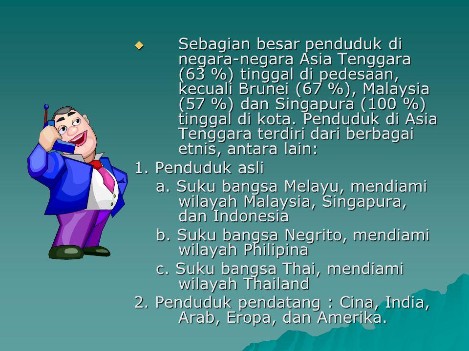 Penduduk Asia Tenggara  Pada tahun 2004, penduduk Asia Tenggara berjumlah 548.000.000  Negara dengan jumlah penduduk terbesar Indonesia dengan jumla