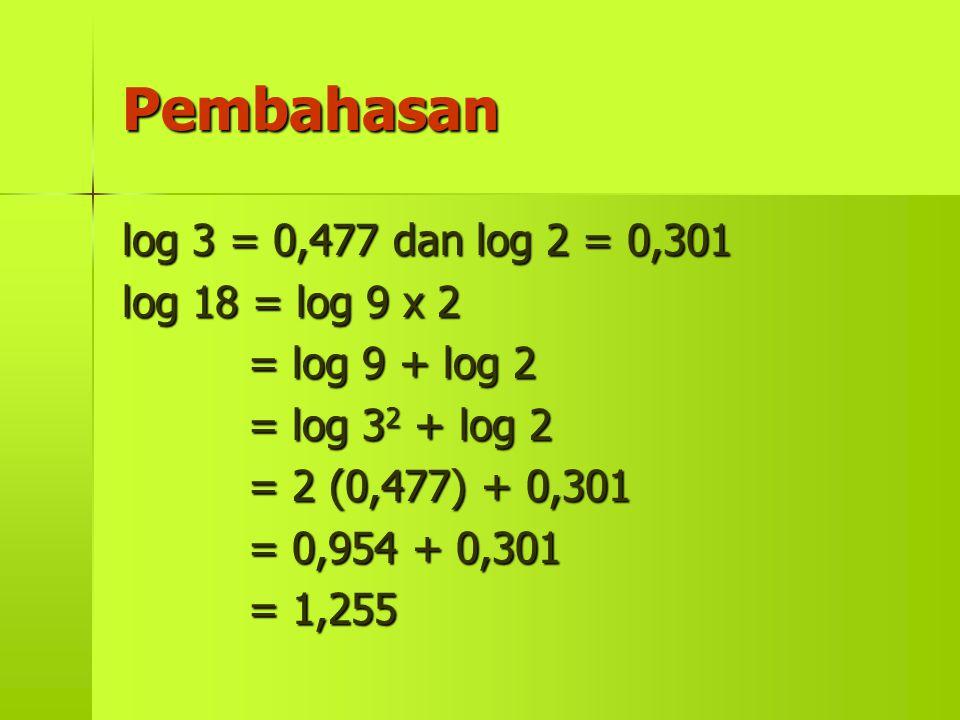 Pembahasan log 3 = 0,477 dan log 2 = 0,301 log 18 = log 9 x 2 = log 9 + log 2 = log 3 2 + log 2 = 2 (0,477) + 0,301 = 0,954 + 0,301 = 1,255
