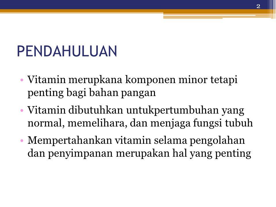 Konversi 1 mg retinol = 1 mg retinol equivalent (RE)= 6 mg all-trans-β-carotene = 12 mg other pro- vitamin A carotenoids = 1.15 mg all-trans- retinyl acetate = 1.83 mg all-trans-retinyl palmitate (IU = 0.34 μg retinol) 13