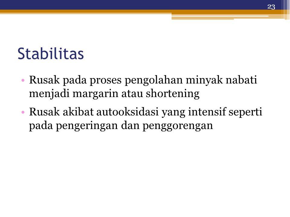 Stabilitas Rusak pada proses pengolahan minyak nabati menjadi margarin atau shortening Rusak akibat autooksidasi yang intensif seperti pada pengeringan dan penggorengan 23