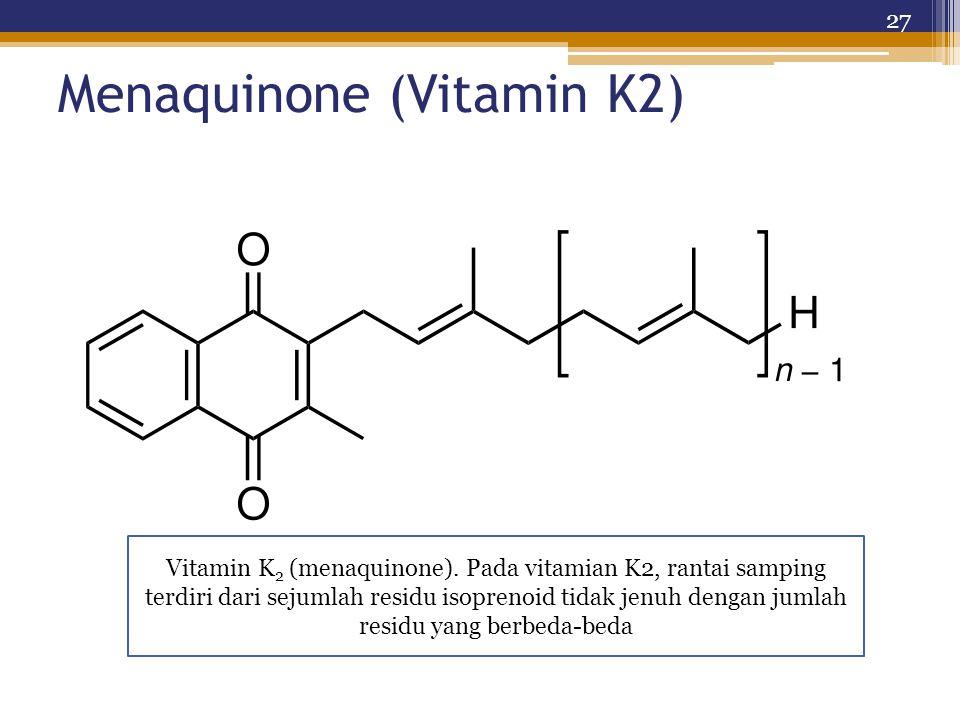 Menaquinone (Vitamin K2) 27 Vitamin K 2 (menaquinone). Pada vitamian K2, rantai samping terdiri dari sejumlah residu isoprenoid tidak jenuh dengan jum