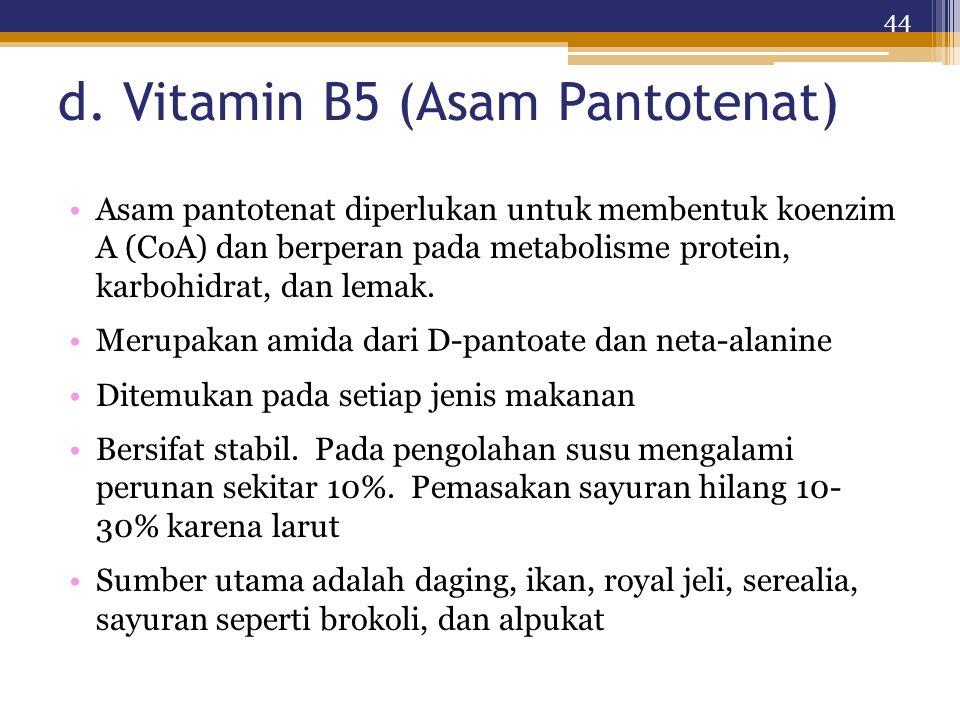 d. Vitamin B5 (Asam Pantotenat) Asam pantotenat diperlukan untuk membentuk koenzim A (CoA) dan berperan pada metabolisme protein, karbohidrat, dan lem