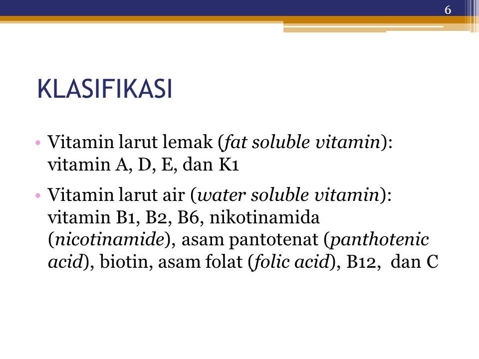 KLASIFIKASI Vitamin larut lemak (fat soluble vitamin): vitamin A, D, E, dan K1 Vitamin larut air (water soluble vitamin): vitamin B1, B2, B6, nikotinamida (nicotinamide), asam pantotenat (panthotenic acid), biotin, asam folat (folic acid), B12, dan C 6