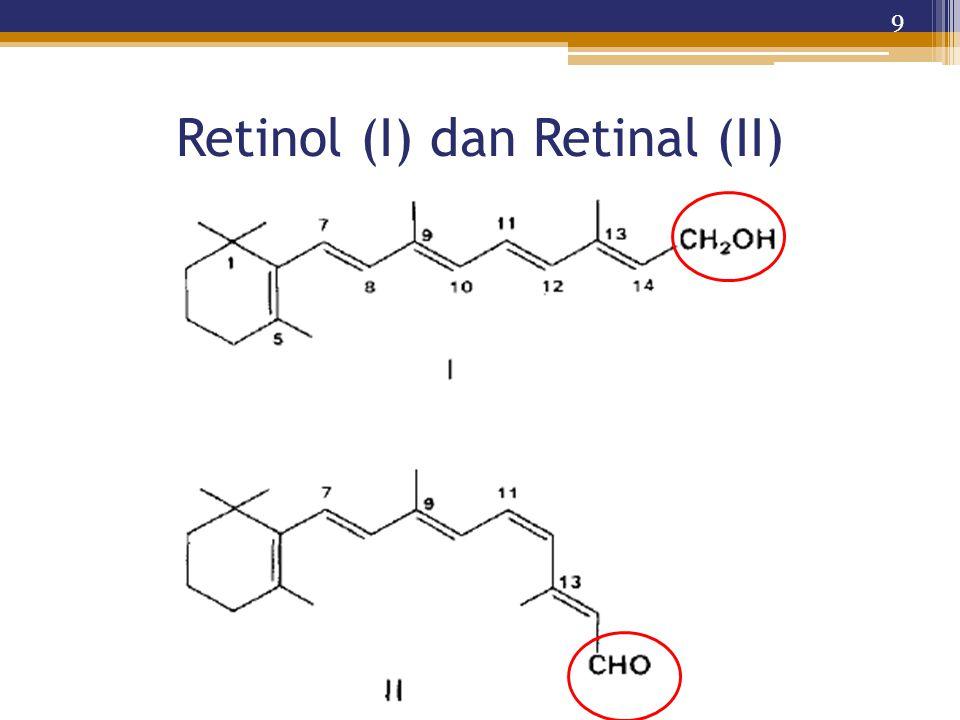 Retinol (I) dan Retinal (II) 9