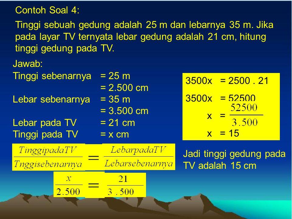 Contoh Soal 2: Jarak dua kota adalah 60 km. Tentukan jarak kedua kota itu pada peta yang mempunyai skala 1 : 1.500.000 Jawab: Skala 1 : 1.500.000 Jara