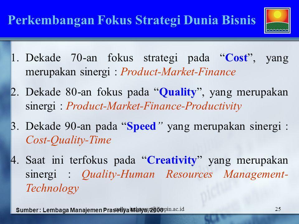 "rully_indrawan@ikopin.ac.id25 1.Dekade 70-an fokus strategi pada ""Cost"", yang merupakan sinergi : Product-Market-Finance 2.Dekade 80-an fokus pada ""Qu"