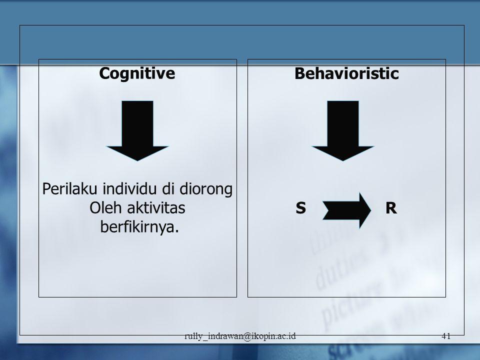 rully_indrawan@ikopin.ac.id41 Cognitive Perilaku individu di diorong Oleh aktivitas berfikirnya. Behavioristic S R
