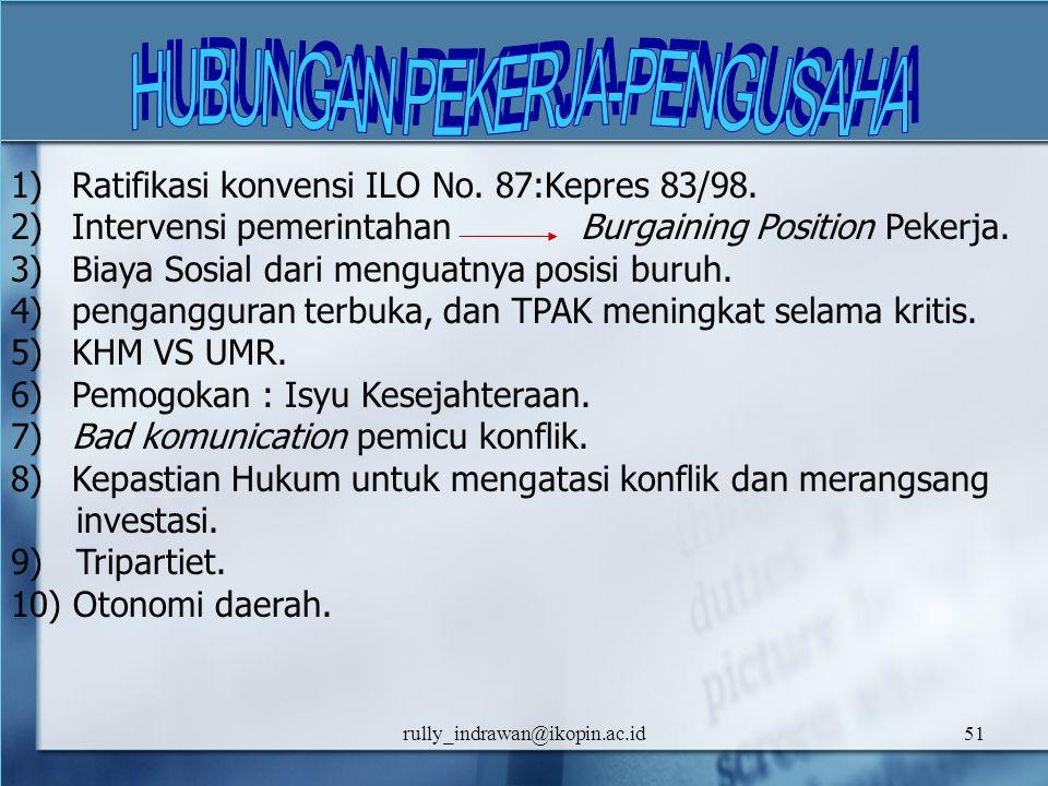 rully_indrawan@ikopin.ac.id51 1) Ratifikasi konvensi ILO No. 87:Kepres 83/98. 2) Intervensi pemerintahan Burgaining Position Pekerja. 3) Biaya Sosial