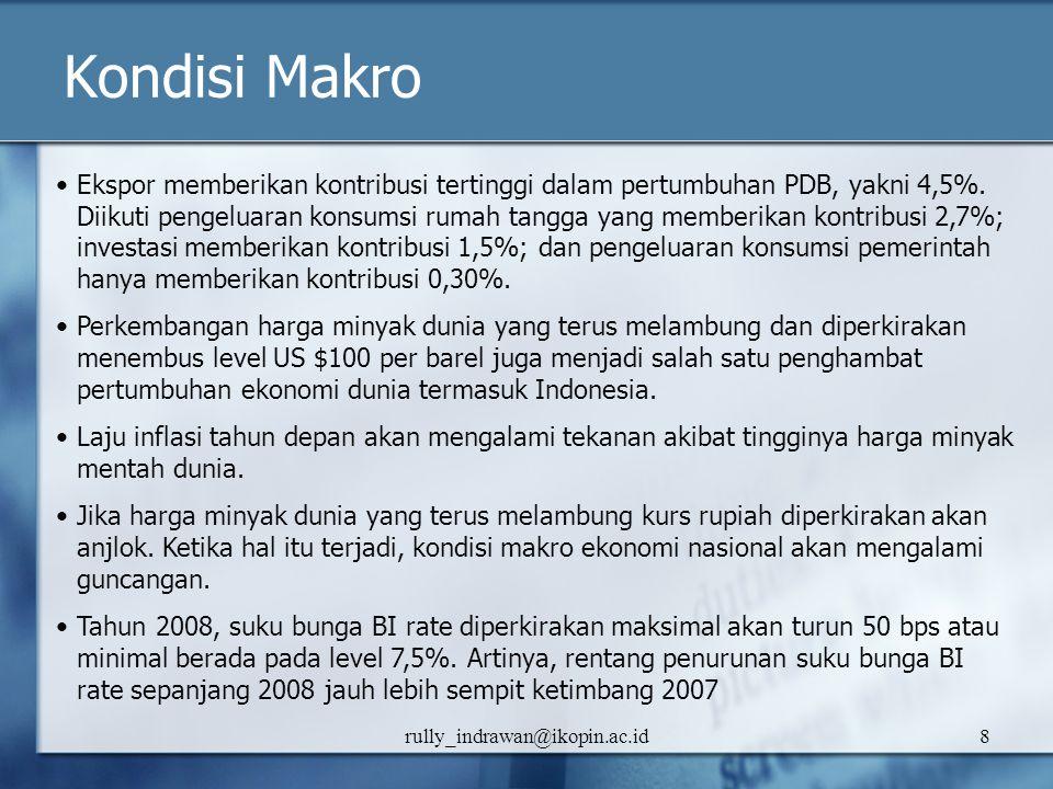 rully_indrawan@ikopin.ac.id8 Kondisi Makro Ekspor memberikan kontribusi tertinggi dalam pertumbuhan PDB, yakni 4,5%. Diikuti pengeluaran konsumsi ruma