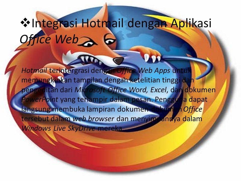  Tampilan Aktif Tampilan aktif (active view) pada Hotmail memungkinkan penggunanya untuk secara langsung berinteraksi dengan isi dan fungsi dalam pesan e-mail mereka.