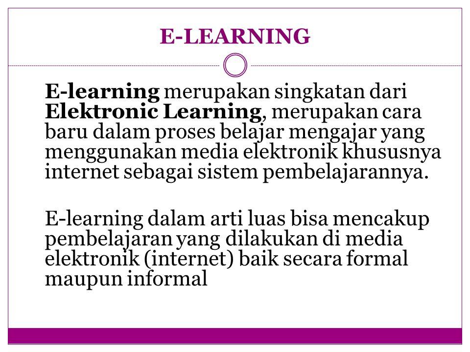 E-learning merupakan singkatan dari Elektronic Learning, merupakan cara baru dalam proses belajar mengajar yang menggunakan media elektronik khususnya internet sebagai sistem pembelajarannya.