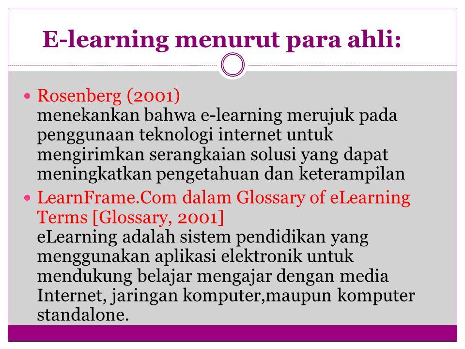 E-learning menurut para ahli: Rosenberg (2001) menekankan bahwa e-learning merujuk pada penggunaan teknologi internet untuk mengirimkan serangkaian solusi yang dapat meningkatkan pengetahuan dan keterampilan LearnFrame.Com dalam Glossary of eLearning Terms [Glossary, 2001] eLearning adalah sistem pendidikan yang menggunakan aplikasi elektronik untuk mendukung belajar mengajar dengan media Internet, jaringan komputer,maupun komputer standalone.